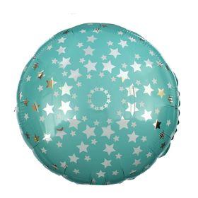Шар фольгированный 18' 'Звёзды', круг, цвет голубой Ош