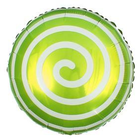 "Balloon foil 18"" ""Lollipop"", circle, color light green"