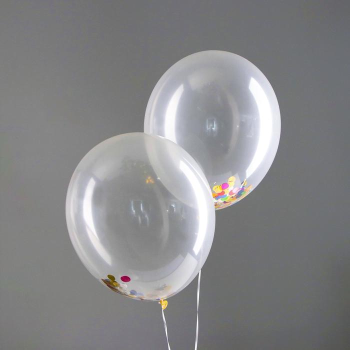 """Шар латексный 16"""" """"Лето"""", конфетти-кружочки, набор 2 шт., прозрачный - фото 308470251"""
