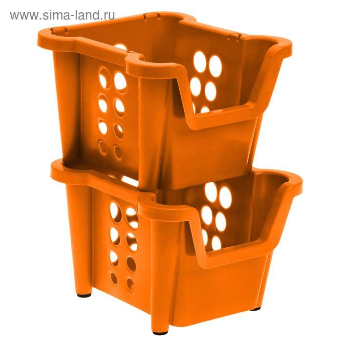 Набор ящиков 37х28х22 см Proxi, 2 шт, штабелируемые, цвет мандарин