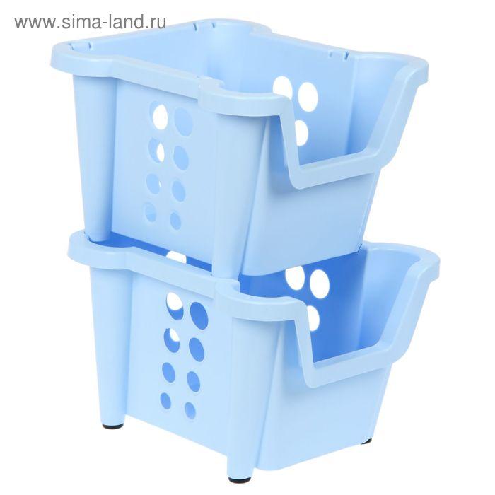 Набор ящиков 37х28х22 см Rio 2 шт, штабелируемые, цвет светло-голубой