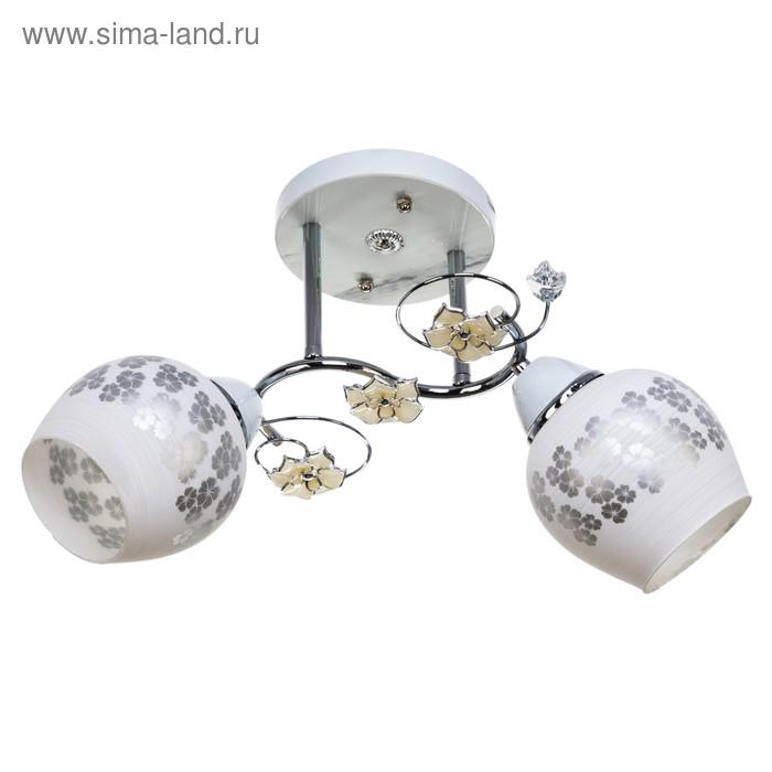 "Люстра ""Кусенто"" 2 лампы 40W E27 основание хром-белый 45х21х28 см"