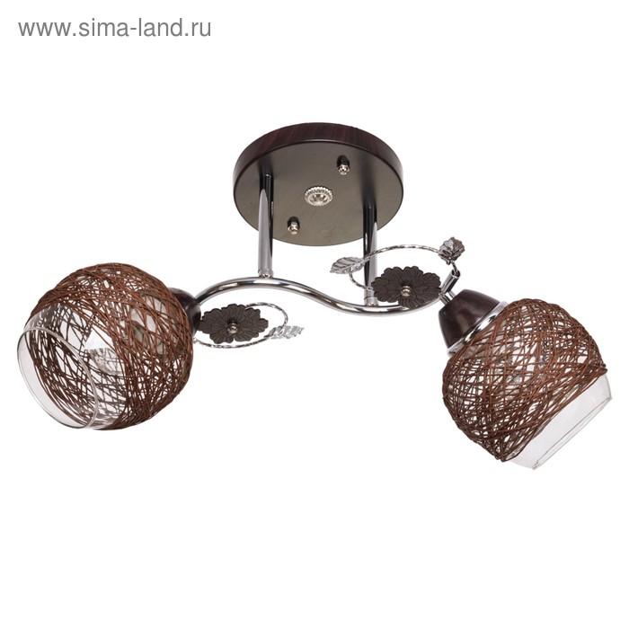 """Люстра """"Фива"""" 2 лампы 40W E27 основание хром-коричневый"""