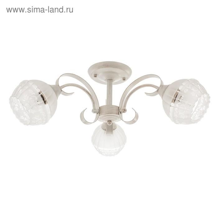 """Люстра классика """"Фриони"""" 3 лампы 60W E27 основание белый-золото 55х55х22 см"""
