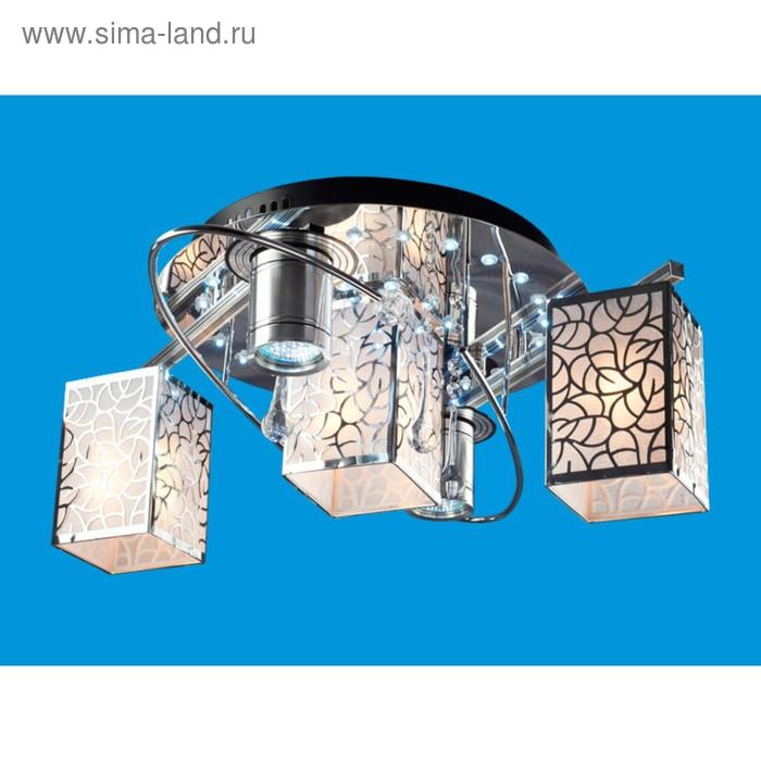 """Люстра космос """"Броджи"""" 3+2 лампы 60W, 3W E27 основание хром 55х55х21 см"""
