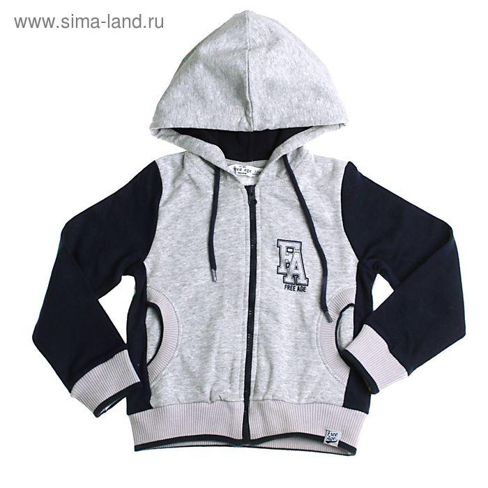 Джемпер (толстовка) для мальчика, рост 104 см (60), цвет серый меланж/синий (арт. ZВ 08049-MB1 FA_Д)