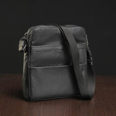 Планшет мужской на молнии, 1 отдел, наружный карман, чёрный