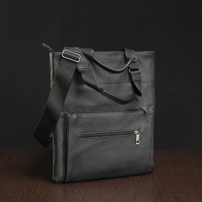Сумка мужская на молнии, 1 отдел, 2 наружных кармана, чёрный