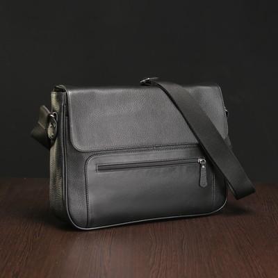 Портфель мужской на клапане, 1 отдел, 2 наружных кармана, длинный ремень, цвет чёрный