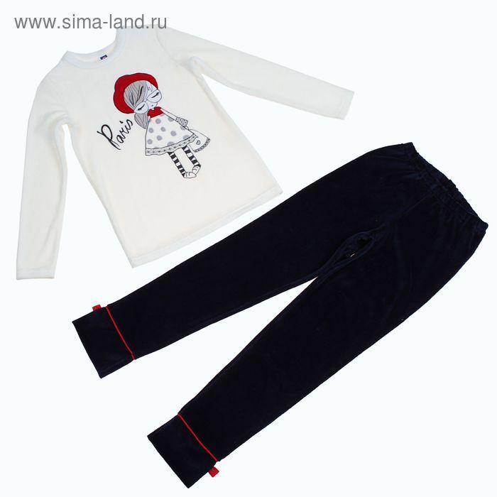 """Костюм для девочки (джемпер, брюки) """"Красная шапочка"""", рост 134-140 см (34), цвет молочный/тёмно-синий (арт. Р648541_Д)"""