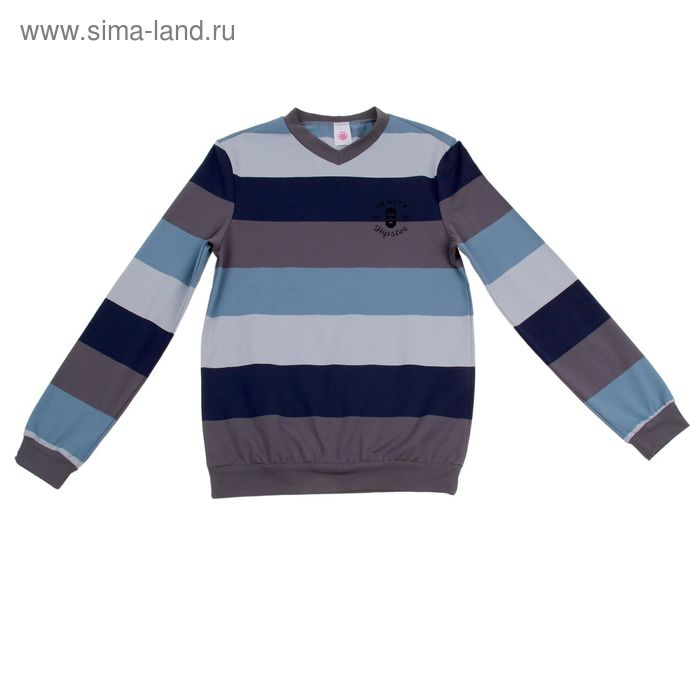 """Джемпер для мальчика """"Полоса"""", рост 146 см (38), цвет серый/голубой/тёмно-синий (арт. Р808423_Д)"""