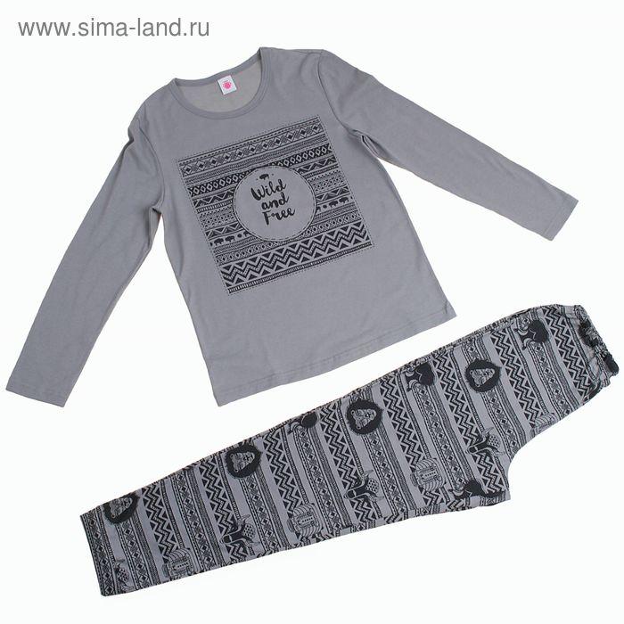 "Пижама для мальчика ""Зигзаг"", рост 134-140 см (36), цвет серый (арт. Р208497_Д)"