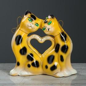 """Копилка """"Котики с сердцем"""", акрил, жёлтый цвет, 21 см"""