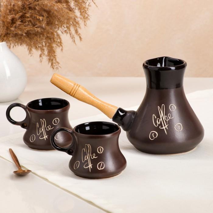 Кофейный набор 3 предмета, чёрный, матовый, турка с деревянной ручкой, объём 0,6 л, чашка 0,1 л