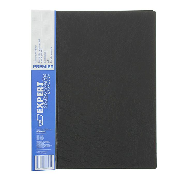 Папка с боковым пружинным скоросшивателем А4 EC Premier, 550мкм, внутренний и торцевой карманы, текстура ID, черная