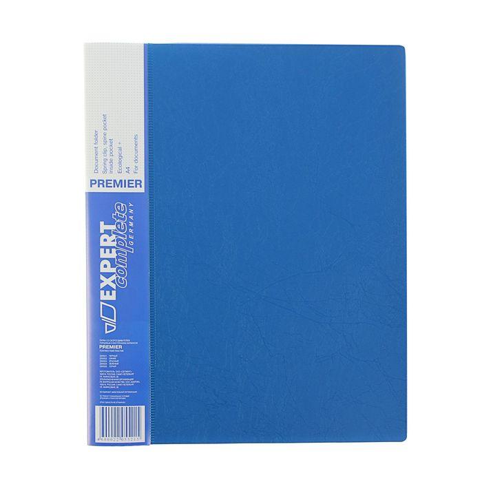 Папка с боковым пружинным скоросшивателем А4 EC Premier, 550мкм, внутренний и торцевой карманы, текстура ID, синяя