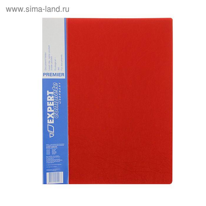 Папка с зажимом А4 EC Premier 550мкм, внутренний и торцевой карманы, текстура ID, красная