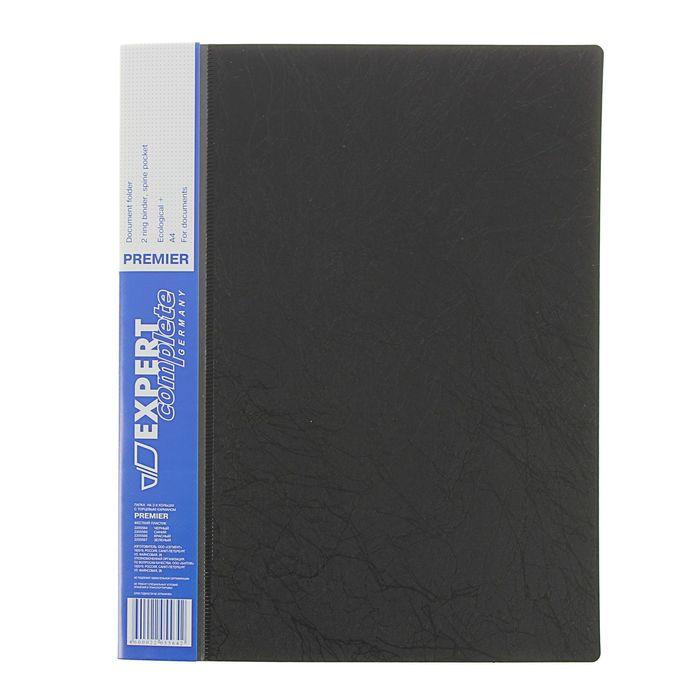 Папка на 2 кольцах А4 пластиковая EC Premier 770мкм, торцевой карман, текстура ID, черная