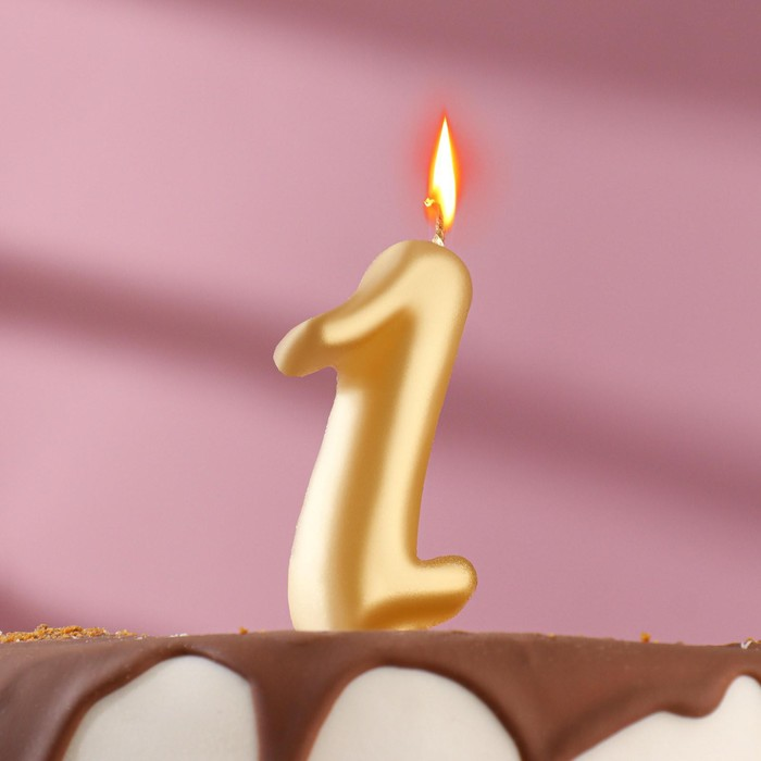 """Свеча для торта цифра """"Овал"""" золотая """"1"""", большая - фото 1706205"""