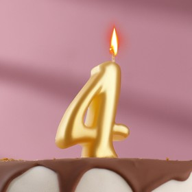 """The candle for the cake figure is """"Oval"""" Golden """"4"""", large"""