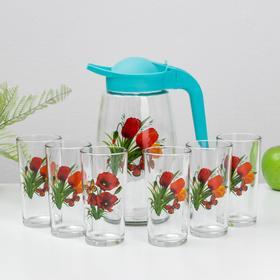 Набор питьевой АС-ДЕКОР «Ассорти», 7 предметов: кувшин 1,7 л, шесть стаканов 250 мл