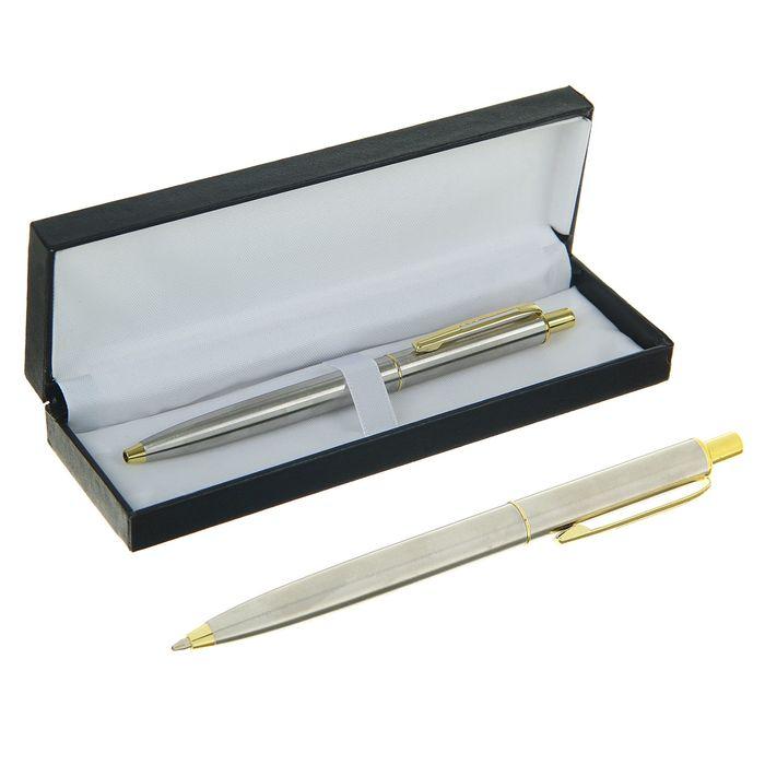 Ручка шариковая, подарочная, автоматическая, в кожзам футляре, «Джокер», серебристо-золотистый - фото 370901443