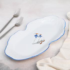 Блюдо прямоугольное «Рококо. Гуси», 36×18 см