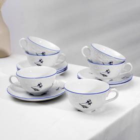 Чайный сервиз на 6 персон Cmielow «Рококо. Гуси», 12 предметов: кружки 220 мл d=10 см, блюдца 15,5 см