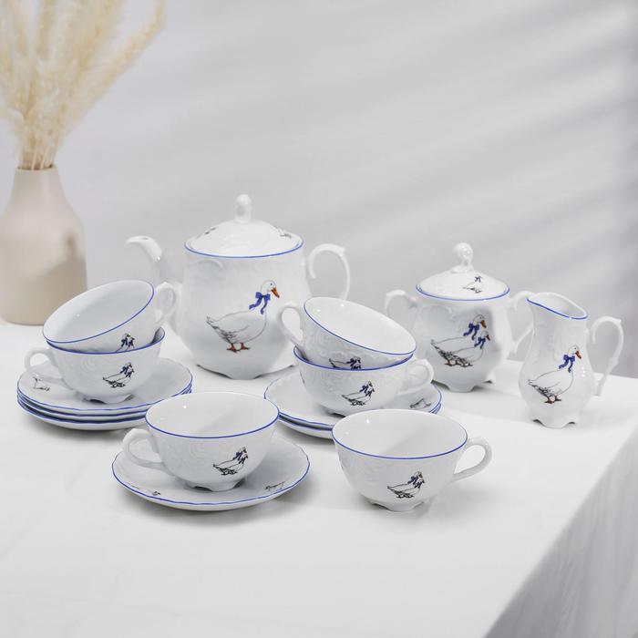 """Чайный сервиз на 6 персон """"Рококо Гуси"""", 15 предметов"""