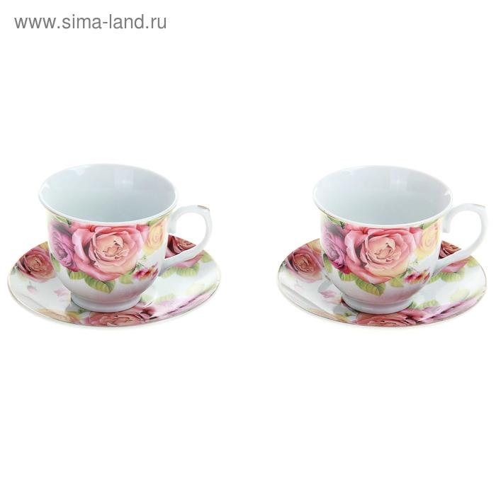 """Сервиз чайный """"Мираж цветов"""", 4 предмета: 2 чашки 250 мл, 2 блюдца"""