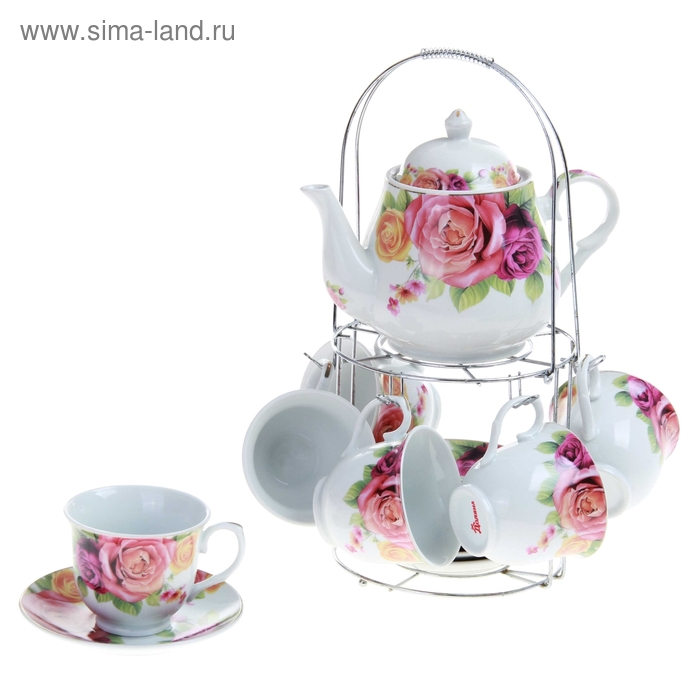 """Сервиз чайный """"Мираж цветов"""", 13 предметов на подставке: 6 чашек 250 мл, 6 блюдец, чайник 1 л"""