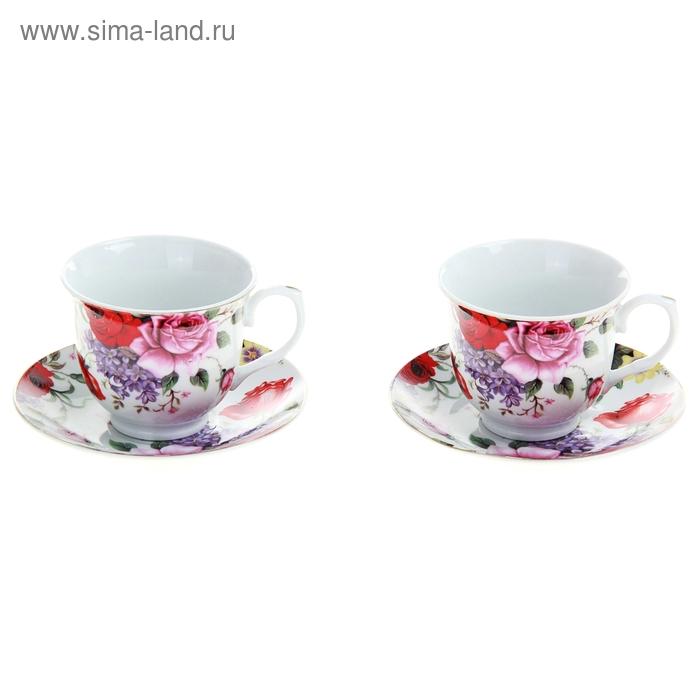"""Сервиз чайный """"Страстная роза"""", 4 предмета: 2 чашки 250 мл, 2 блюдца"""