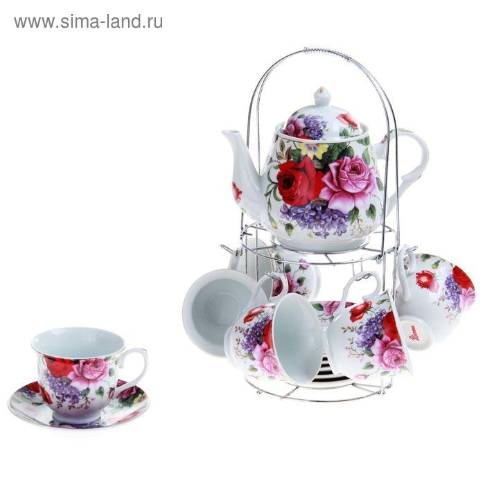 """Сервиз чайный """"Страстная роза"""", 13 предметов на подставке: 6 чашек 250 мл, 6 блюдец, чайник 1 л"""