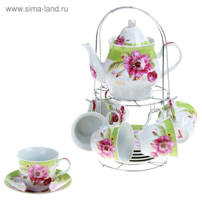 """Сервиз чайный """"Апрельский бутон"""", 13 предметов на подставке: 6 чашек 250 мл, 6 блюдец, чайник 1 л"""