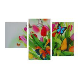 "Картина модульная на подрамнике  ""Бабочки на тюльпанах""  30х35,30х46,30х56 см; 90х56 см"