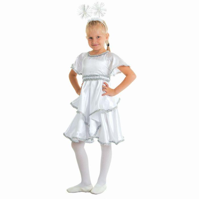 """Карнавальный костюм """"Снежинка белая"""", платье, ободок, р-р 64, рост 128 см - фото 105520084"""