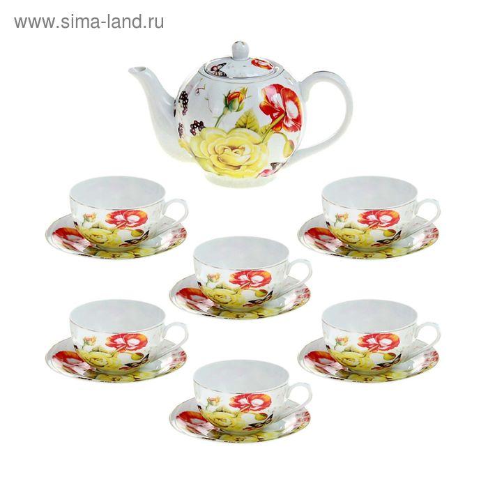 """Сервиз чайный """"Майский сон"""", 13 предметов: 6 чашек 250 мл, 6 блюдец, чайник 1 л"""