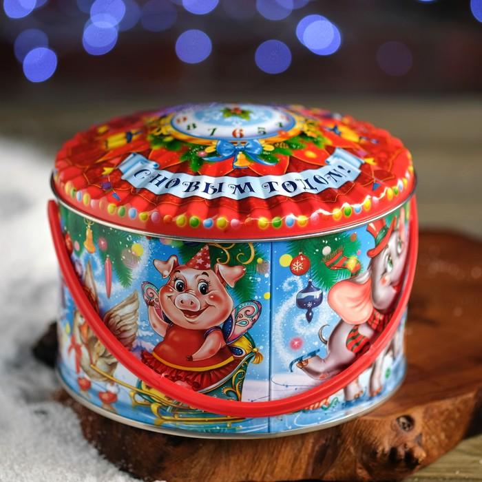 "Подарочная коробка ""Веселый цирк"", цилиндр, 15,3 х 15,3 х 9,5 см"