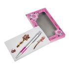 Набор подарочный 4в1 в карт.блистере (ручка+2 брошки+заколка) розовый 16*9см
