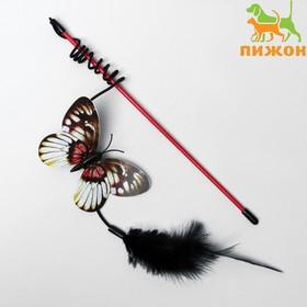 """Дразнилка """"Бабочка"""" с перьями, микс цветов"""