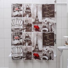 Штора для ванной комнаты Доляна «Париж ретро», 180×180 см, EVA, цвет белый