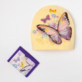 "Детский набор Collorista ""Бабочка"" шапка р-р 54, 100% хб, кошелек 9,5*12 см текстиль"