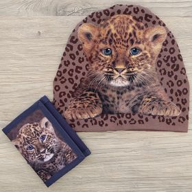 "Детский набор Collorista ""Леопардик"" шапка р-р 54, 100% хб, кошелек 9,5*12 см текстиль"