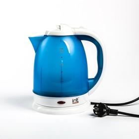 Чайник электрический Irit IR-1231, пластик, 1.8 л, 1500 Вт, бело-голубой