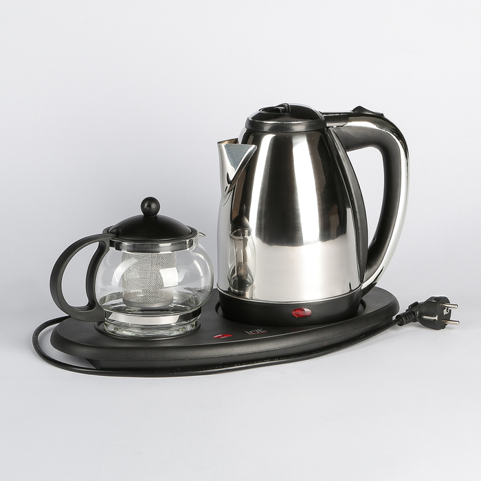 Набор чайный Irit IR-1502,1500 Вт, 1.5 л, металл, заварочный чайник 0.8 л, серебристый