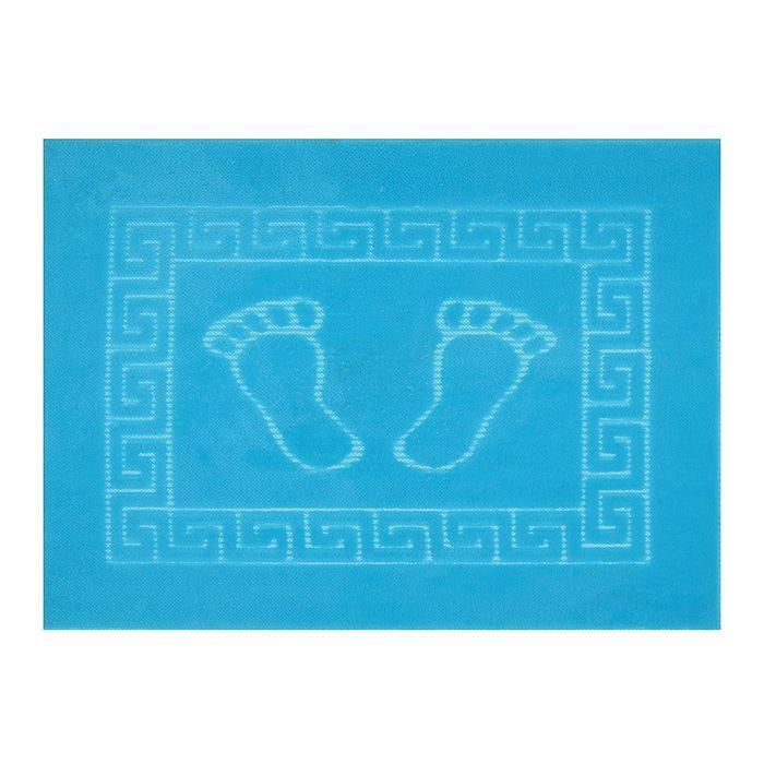Коврик для ног прорезиненный, 50х70 см бирюза нано-микрофибра п/э100%
