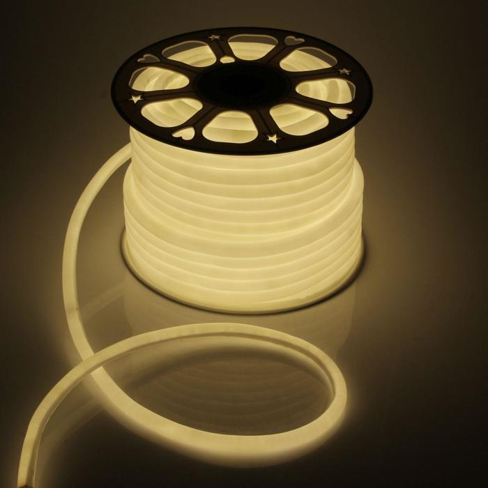 Гибкий неон круглый D 16 мм, 50 метров, LED-120-SMD2835, 220 V, ТЕПЛЫЙ БЕЛЫЙ