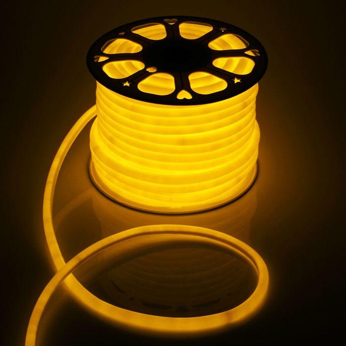 Гибкий неон круглый D 16 мм, 50 метров, LED-120-SMD2835, 220 V, ЖЕЛТЫЙ