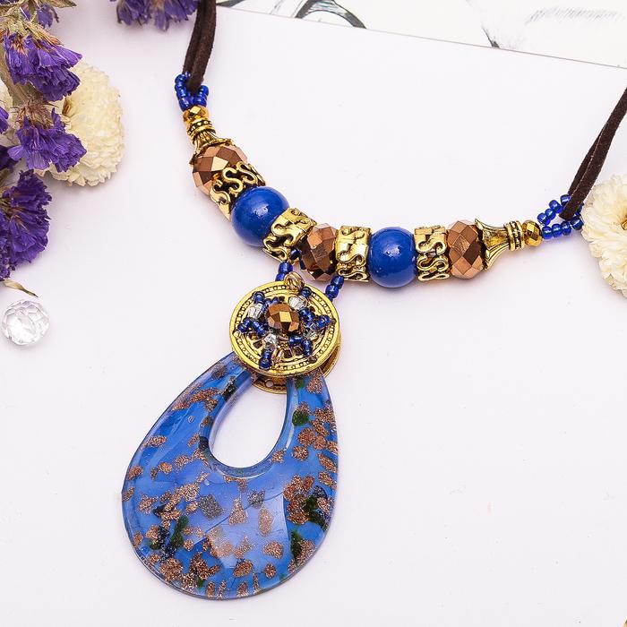 """Кулон восход """"Муранское стекло"""" капля, цвет синий, 45 см"""