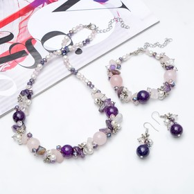 """The set of 3 items: earrings, necklace, bracelet, stone valley """"Amethyst+pink quartz"""""""